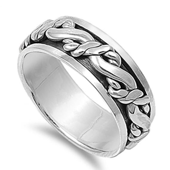 Custom Engraving Men Women 9mm 925 Sterling Silver Band Oxidize Finish Braided R…   – Products