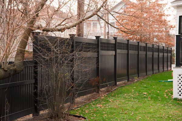 Black Privacy Fence Step Down Slope Vinyl Privacy Fence