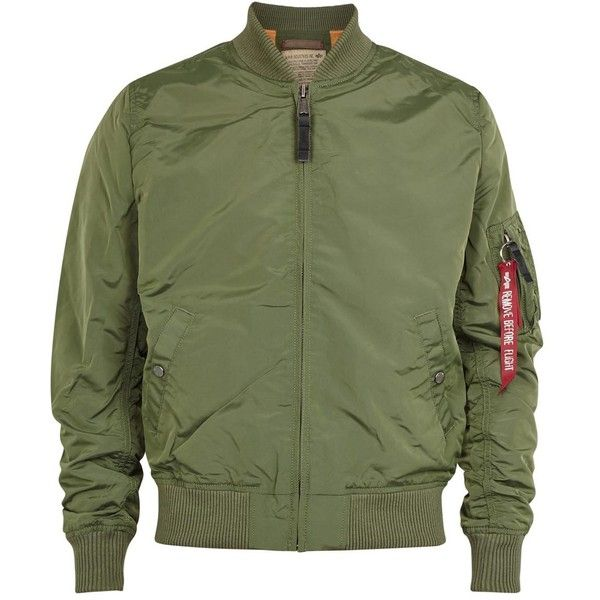 Alpha Industries MA-1 green shell bomber jacket ($155) ❤ liked on Polyvore featuring men's fashion, men's clothing, men's outerwear, men's jackets, mens zip up jackets, mens green bomber jacket, mens shell jackets and mens green jacket