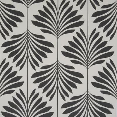 Clarke & Clarke Wallpaper W0003-4 Leaf/Foliage/Vine Black/White