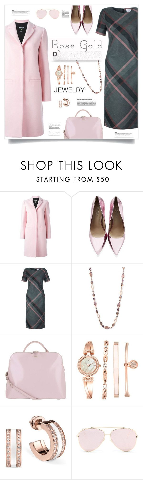 """""""Rose Gold Jewelry"""" by kiki-bi ❤ liked on Polyvore featuring MSGM, Carvela Kurt Geiger, Anne Klein, Radley, jewelry and rosegold"""
