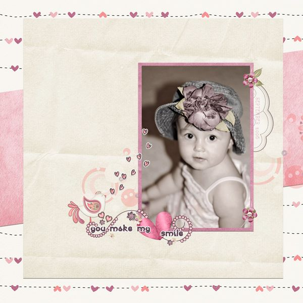 this scrapbook layout was made using the digital scrapbooking collection, Love Struck, sold by Kathryn Estry Designs