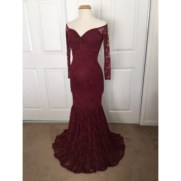 Burgundy Off Shoulders Long Sleeves Lining Maternity Gown Mermaid Slim... ($115) ❤ liked on Polyvore featuring maternity, black, dresses et women's clothing