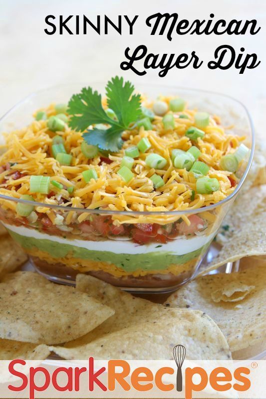 Make this skinny Mexican layer dip for your next party. So yummy and full of good flavors, you'll want to bring it to all your fiestas and barbecues.