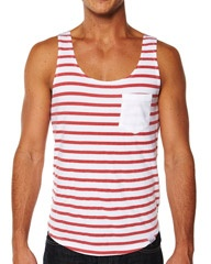 THE ACADEMY BRAND MELROSE SINGLET - RED WHITE on http://www.surfstitch.com