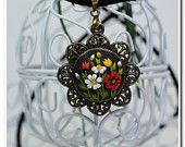 Pendente floreale fiori selvatici floreale collana dei gioielli collana collana femminile polimero argilla Applique ricamo floreale filigrana fiore floreale