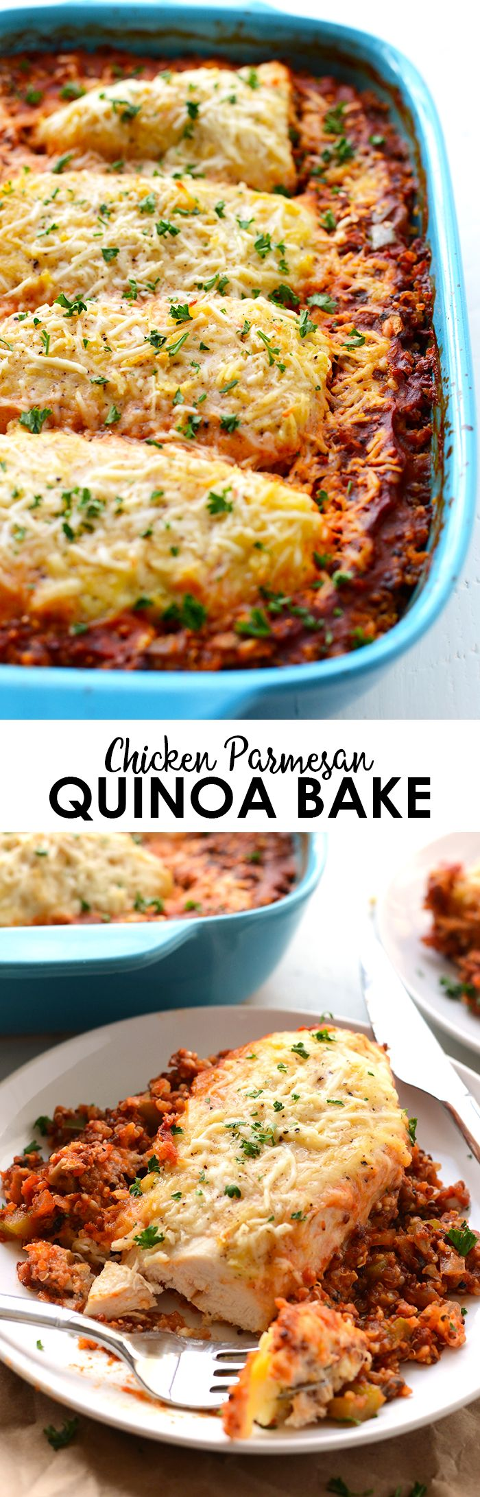 Looking for a lightened-up dinner that will feed the whole family? Make this protein-packed (and veggie-packed!) chicken parmesan quinoa bake in just 60-minutes! | FitFoodieFinds
