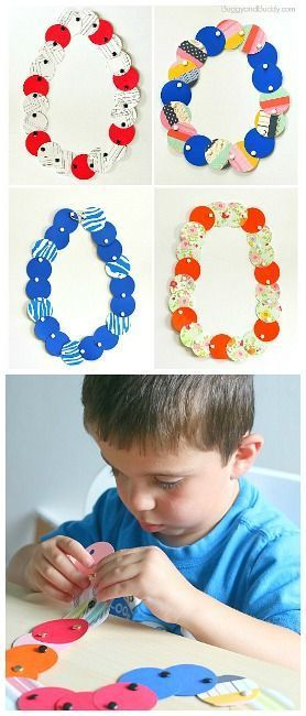 Fine Motor Paper Circle Necklace Craft for Kids: Great way to practice fine motor skills, shapes, and patterns! Make great necklaces for Mother's Day or even a Hawaiian luau! ~ BuggyandBuddy.com