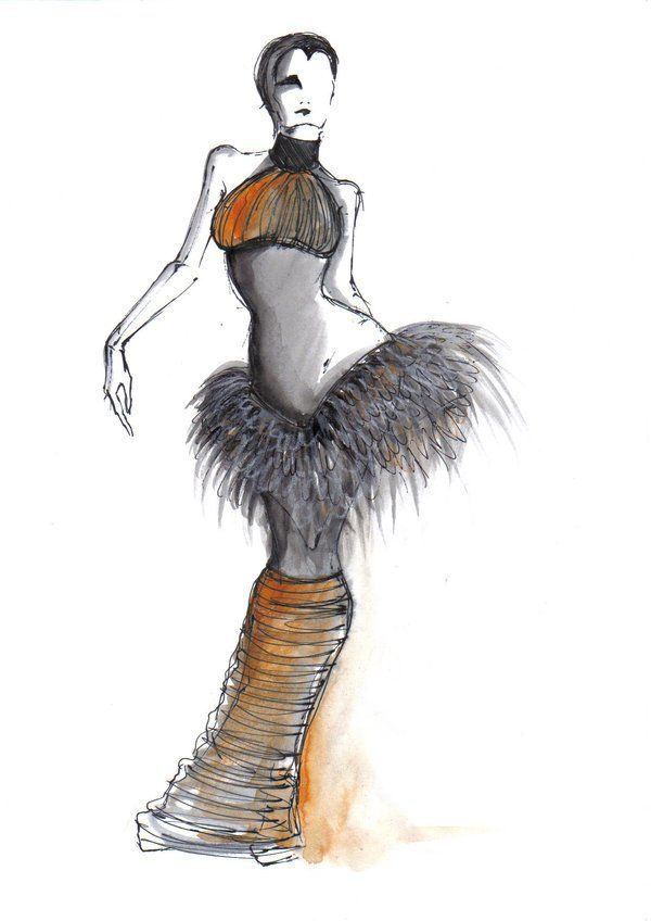 Fashion sketches by Elke Ines Szilier - Illustrations by Elke Ines Szilier are very eccentric and unusual. As we can see this dress is in dark colors with shades of sepia, nothing queer, but its shape is out of ordinary. It is like futuristic piece of art. The face of the model can be seen only in half that creates an effect that any woman can inspire the artist.