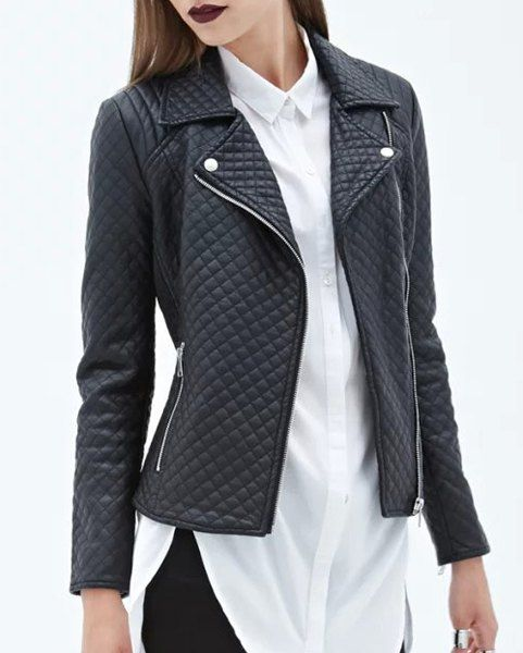 Charming Lapel Collar Faux Leather Lozenge Printed Jacket For Women