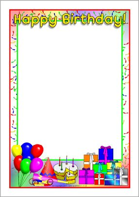 Happy Birthday A4 page borders (SB4931) - SparkleBox