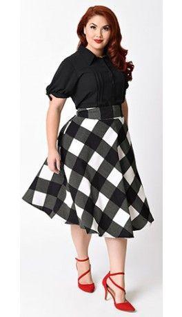 Unique Vintage Plus Size Retro Black & Ivory Checkered High Waist Vivien Swing Skirt