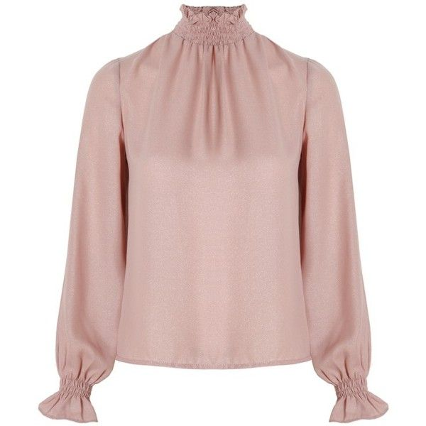 Related Marcella Blouse Blush (£105) ❤ liked on Polyvore featuring tops, blouses, pink top, sparkly tops, pink blouse and pink sparkly top