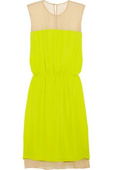the best neon + neutral combo I've ever seen: Colors Combos, Summer Dresses, Michele Mason, Neon Dresses, Yellow Dress, Chiffon Dresses, Silk Georgett, Neon Yellow, Michelle Mason