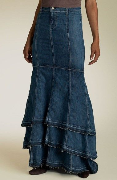Insipration for those old jeans you have been saving- 7 For All Mankind® Long Gypsy Skirt