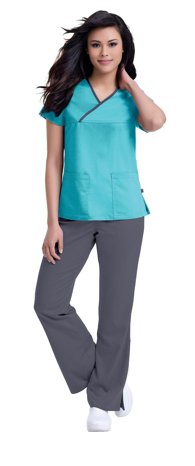 """Urbane Ultimate: """"Mandi"""" crossover in Aqua with Steel trim. #urbane #scrubs #medical #fashion #urniforms #hospital #nurse #nursing #rn #lpn #lvn #cna #dental #hygienist #vet #tech #spring #green #march #stretch"""