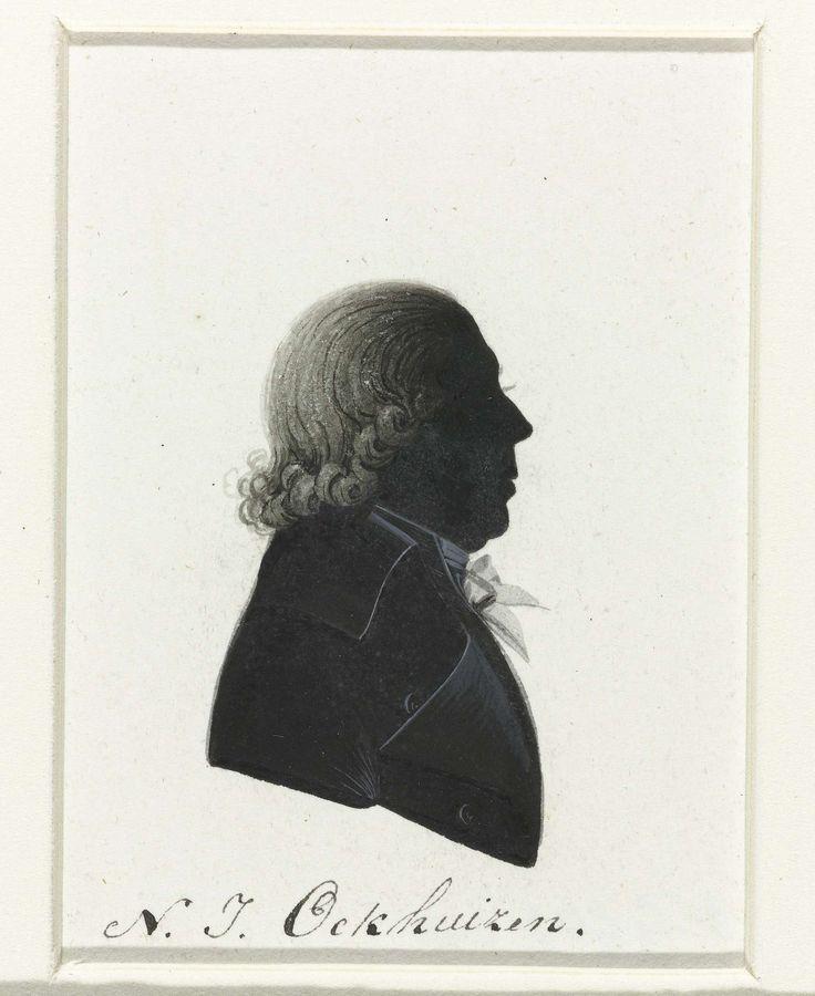 anoniem | N.J. Ockhuizen, possibly Hausdorff, 1796 | Silhouet van borstbeeld in profiel naar rechts. Kort, naar achteren gekamd en aan de onderzijde opgekruld haar. Gestrikte das. Opschrift; o.: N. J. Ockhuizen.