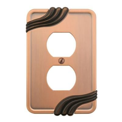 amerelle grayson 1 duplex wall plate copper and the home depot