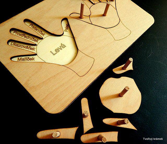 VÝUKOVÉ POMŮCKY | VKLÁDAČKY | RUCE, PRSTY, LEVÁ A PRAVÁ - vkládačka | Tvořivý krámek