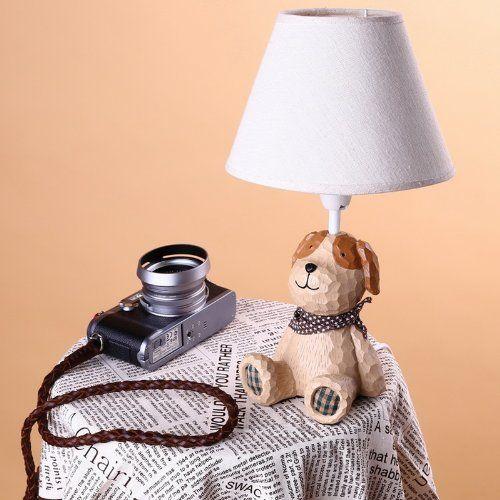FASHION CUTE FABRIC IMITATION WOOD ANIMALS MINI BEDSIDE TABLE LAMP BEDROOM DESK  LAMP KIDS ROOM TABLE