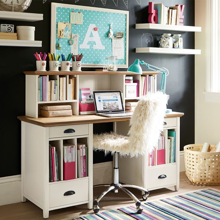 Desk With Drawers And File Cubby Slots Girls Bedroom Furniture Room Design Study Room Design