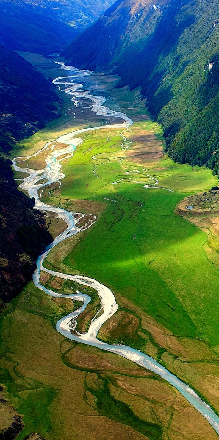 Beautiful picture taken at from a helicopter of the the River Valley near Queenstown, New Zealand