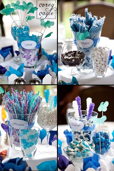 teal candy centerpieces