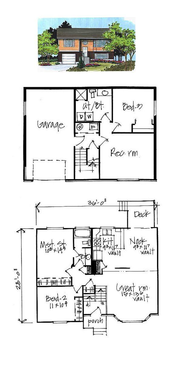 Best 16 split level house plans images on pinterest design for 3 level split floor plans