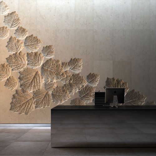 lobby reception rear wall shan shui with leave carving to represent great wall og china - Textured Wall Designs