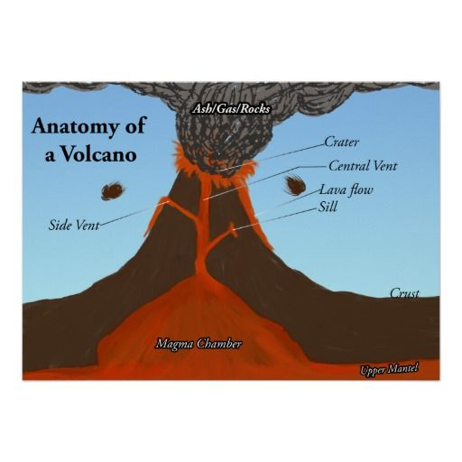 Classroom Decor Vinyl ~ Anatomy of a volcano poster science education