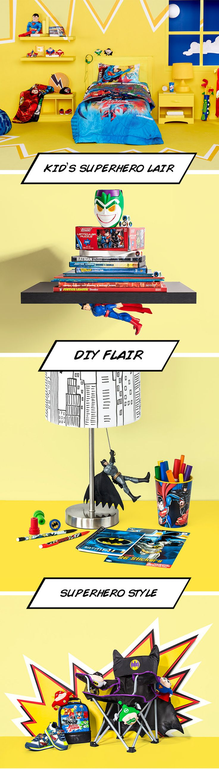 How to create your kid's very own super hero bedroom lair, where justice and good times rule!