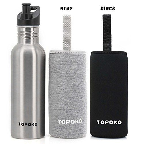 ae6786d21c TOPOKO 25 Oz Single Wall Stainless Steel Water Bottle Sports Bottle Flip  Top Spout with Nylon