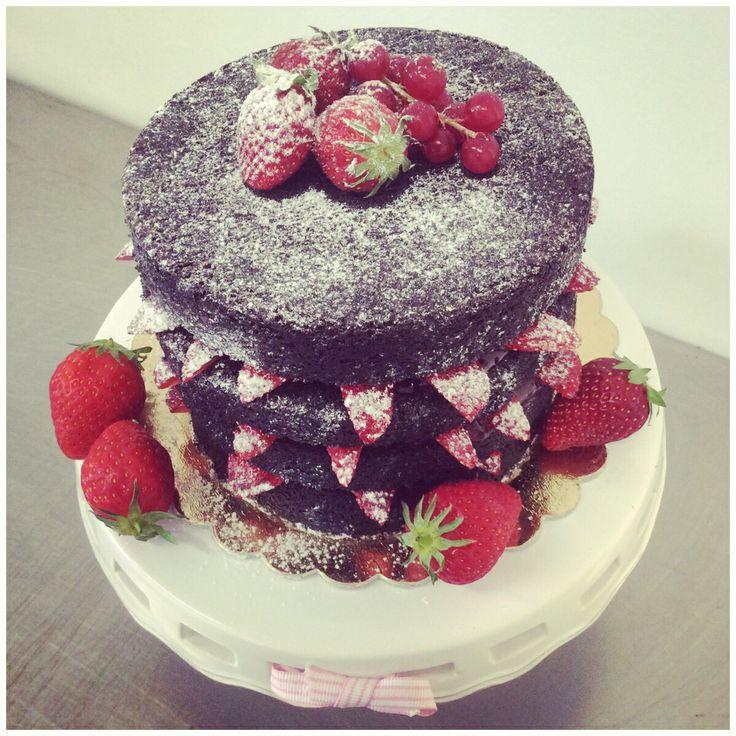 Vegan chocolate & strawberry cake.