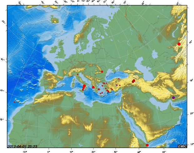 Earthquake maps from around the world current for 2012