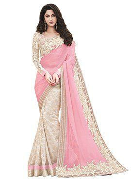 Off White N Pink Half N Half Saree