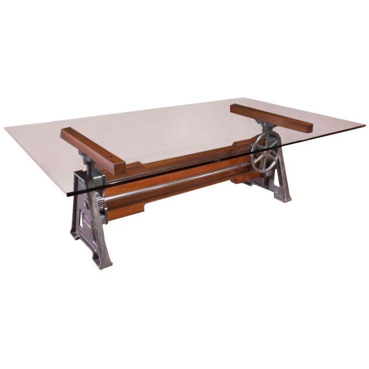 Industrial Adjustable Wood U0026 Metal / Cast Iron Table Base