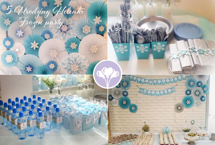 Frozen party by My Lovely Event. Rosettes, boxes, bottles, gift bags - all hand made by My Lovely Event