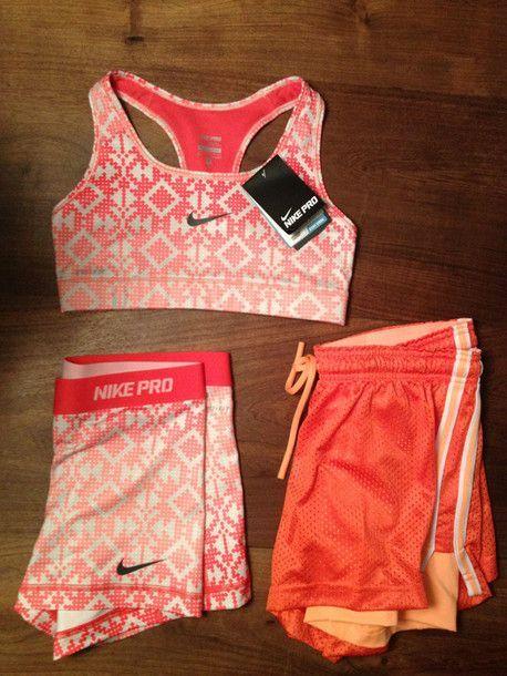 Shorts: sports bra, spandex, cute, pattern, tribal pattern, orange ...