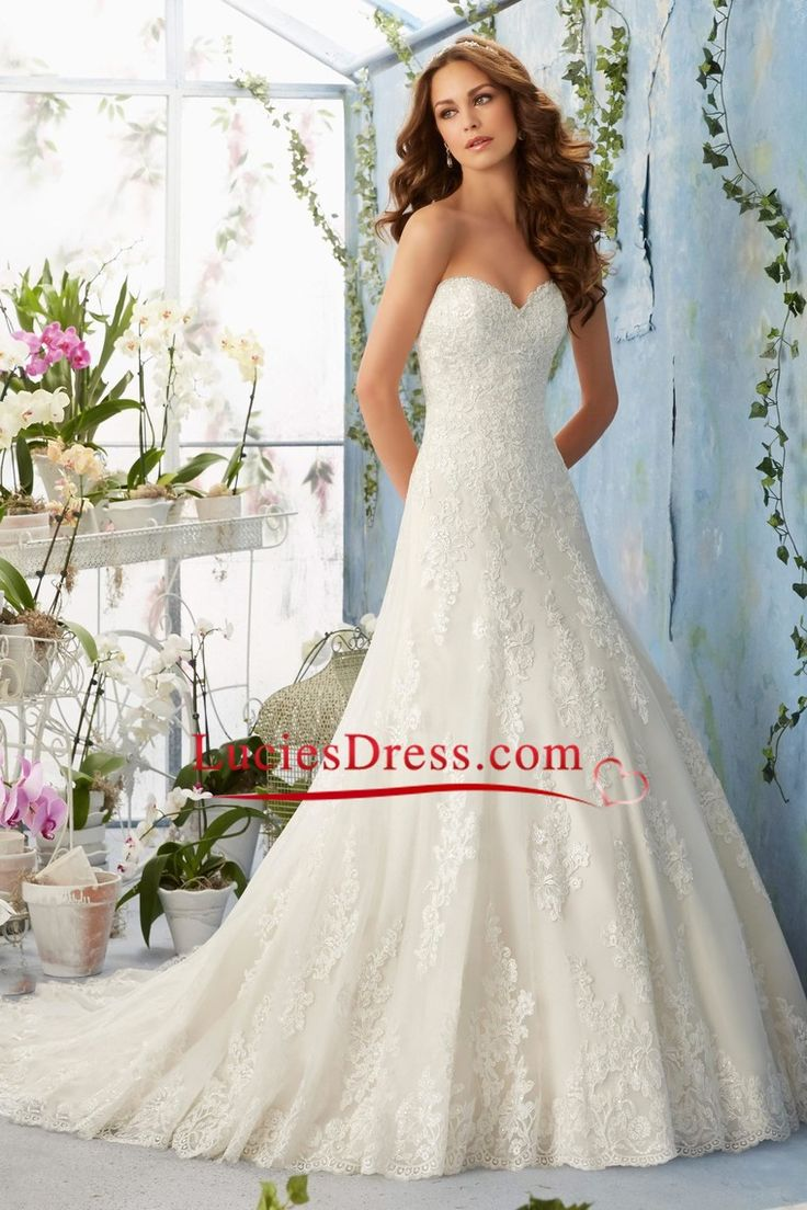 2016 A-Line Wedding Dresses Sweetheart Chapel Train Tulle Applique Covered…
