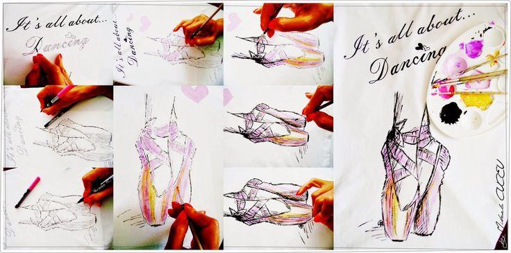 Ballet - pictura manuala tricou dama!