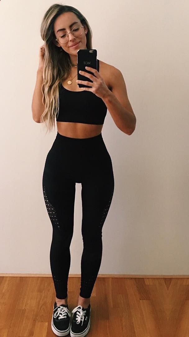ADIDAS, ATHLETIC SHOES, CLOTHING, DRESS, DRESSES, FASHION, LEGGINGS, MOMS FASHION, SHAPER, SHIRTS, SHOES WOMENS, SHORTS, SPORT, SPORT BRAS, STYLE, STYLISH, T-SHIRTS, WOMEN'S SHOES Gymshark athlete, Madalin Giorgetta styles the Energy Seamless sports bra and leggings in black.