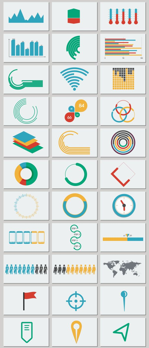 Infographics / Flat Color / Color Palette /// Flat Infographic Pack 2 by Denis…