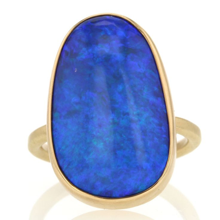 All Gold Australian Black Opal Ring