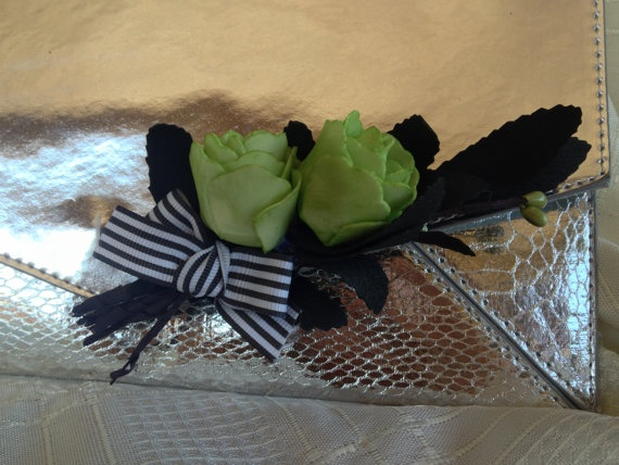 Lime green rose cluster clutch clip by DesignedbyDivas on Etsy, $29.95