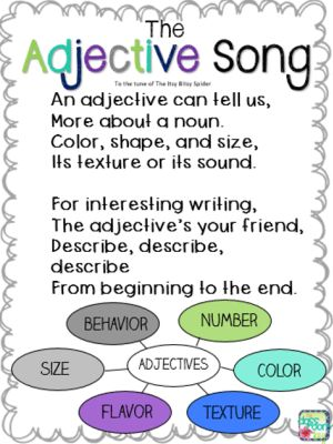 Adjective Song, to the tune of The Itsy Bitsy Spider