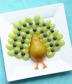 Pavão de uvas - lanche saudável com frutas