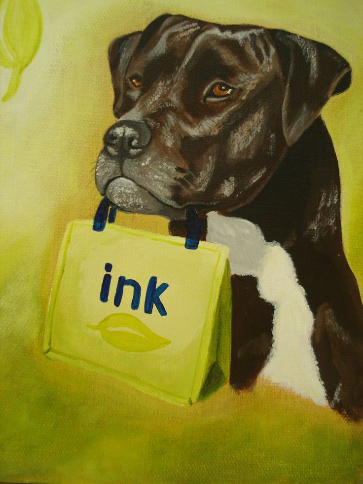"SOLD ""Miss Katie"". 6"" x 8"" Canine courier for Mid-Island Ink Depot http://inkdepot.ca/  painted by Pauline Dueck #dogportraits"