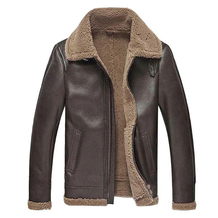 Mens Leather Jacket Men Shearling Jacket Sheepskin Outerwear Bomber Aviator Fur Coat Genuine Leather Mens Jacket Vintage