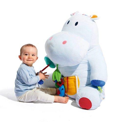 Peluche géante d'activités Axel l'hippopotame Sensibul création Oxybul pour enfant dès la naissance - Oxybul éveil et jeux