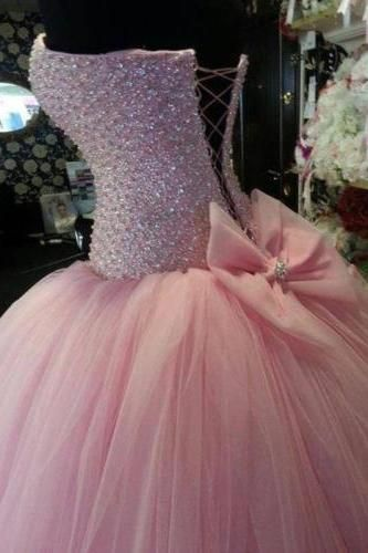 Luxury Pink Beaded Sweet 15 16 Prom Formal Quinceanera Ball Gown Puffy Wedding Dresses Custom